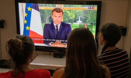 The French president, Emmanuel Macron, is seen giving a televised address to the nation on 14 June.