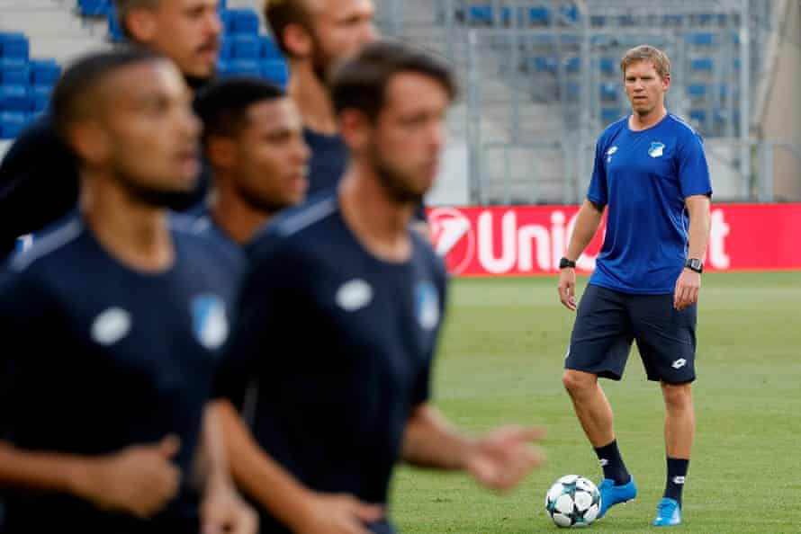 Julian Nagelsmann watches his Hoffenheim players in training on Monday