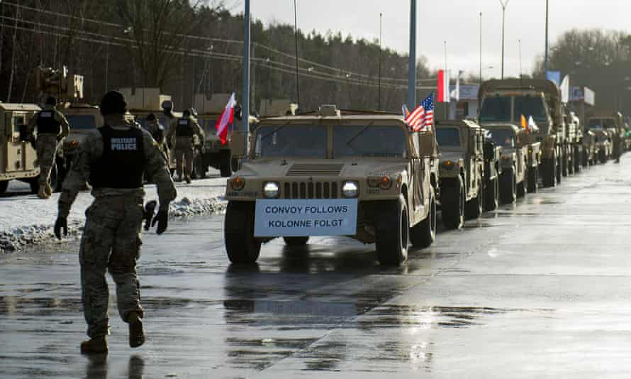 American soldiers during a welcome ceremony in Olszyna, Poland.