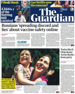 Guardian front page, Thursday 24 August 2018