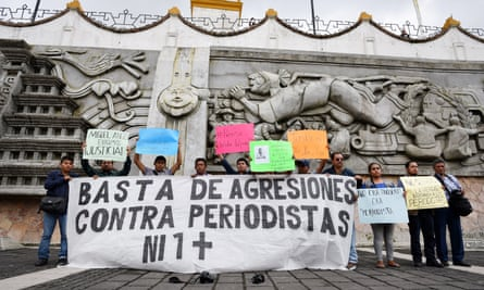 Journalists hold a banner during a protest to demand justice for the killing of their colleague Leobardo Vazquez in Veracruz state, Mexico on 22 March.