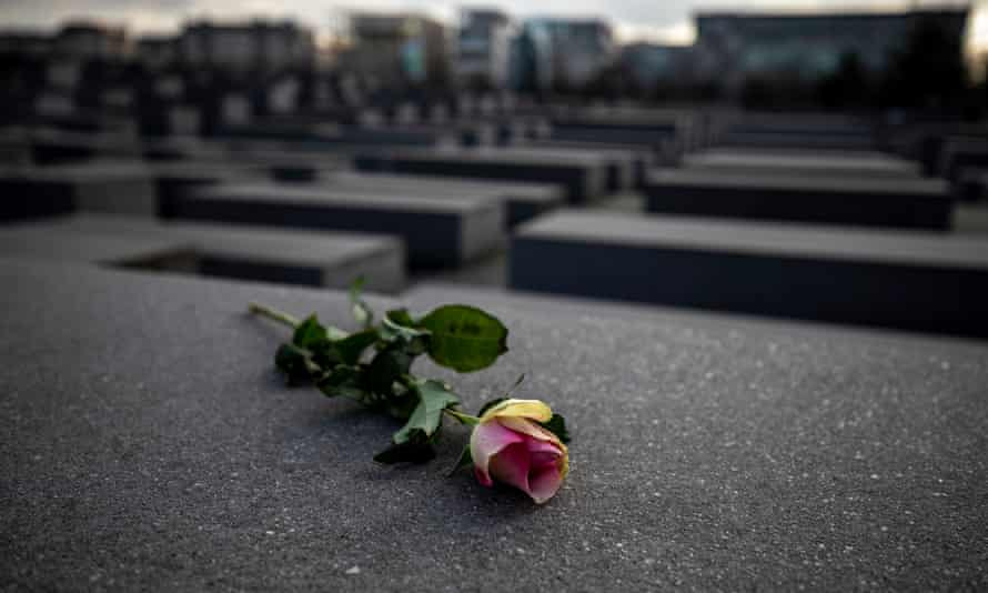 A rose on the Holocaust Memorial in Berlin