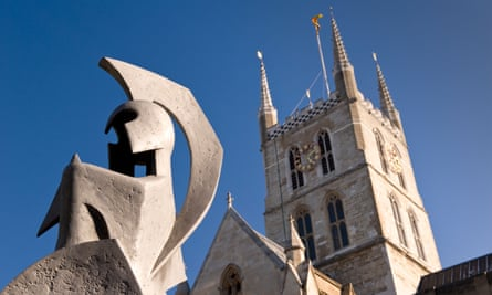 Minerva, 1966, by Alan Collins, is located just north of Southwark Cathedral in London.