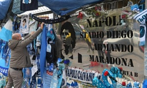 Tributes and an unofficial sign outside the stadium in Naples.
