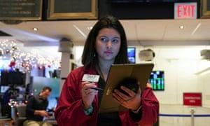 Trader Ashley Lara on the floor of the New York stock exchange