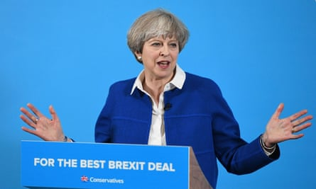 Theresa May delivers a campaign speech in Wolverhampton.