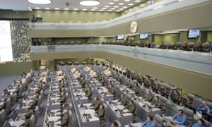 The main 'war room' of the Kremlin's defence control centre