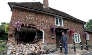 Ray Perkins, landlord of The Swan Inn in Ashford, Kent, outside his pub.