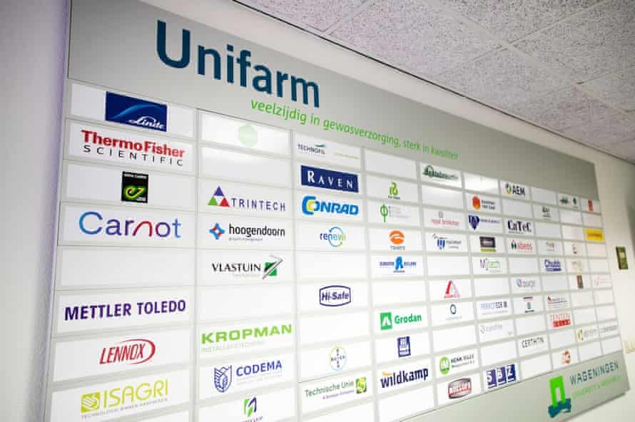 information at the entrance to show all the companies that sponsor research at Unifarm / Wageningen Universty (WUR), Wageningen, The Netherlands Photography Judith Jockel