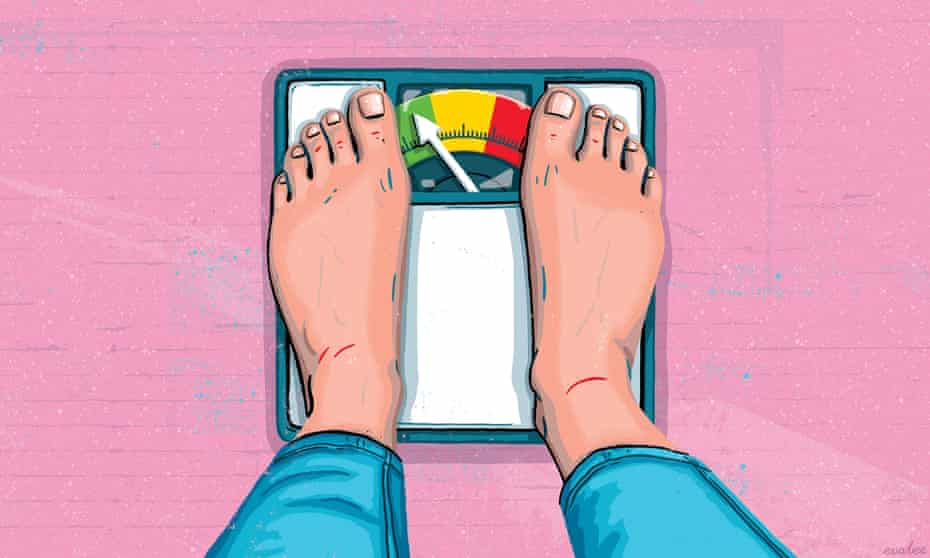 Illustration of feet on scales with the arrow pointing to green. On a pink background