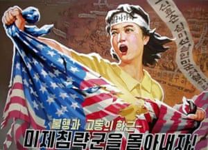 A woman ripping an American flag is depicted in a North Korean propaganda poster with a headband marked 'US military out!' Its main heading: 'Repel the American invader'