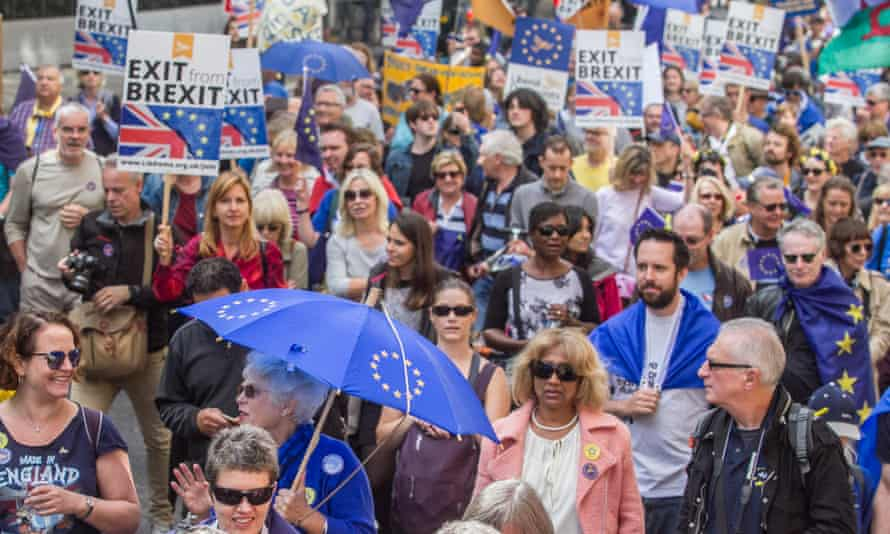 Participants in an anti-Brexit march in London on Saturday