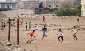 Yemeni children play soccer in the port town of Mokha. Ali Shawish says of his childhood in Yemen: 'We'd play soccer from morning till the sun went down.'