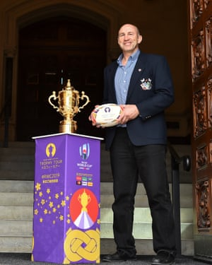 Charron poses with the Webb Ellis Cup at the House of Commons in Ottawa.