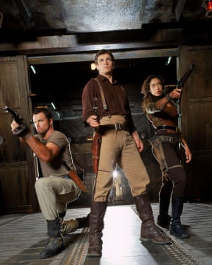 Adam Baldwin, Nathan Fillion and Gina Torres in the short-lived Firefly