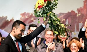 The Five Star Movement leader Luigi Di Maio celebrates on 6 March after taking 32% of the national vote and 50% of the vote in Naples.