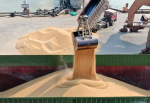 Soybeans being unloaded at the port in Nantong, in China's eastern Jiangsu province.
