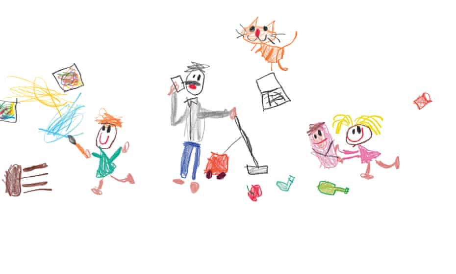 Illustration in the style of a child's drawing of a father hoovering while on the phone and surrounded by kids, a cat and chaos
