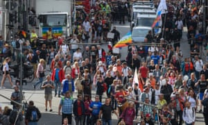 Protest against the ongoing coronavirus restrictions in Berlin, Germany, on Saturday.