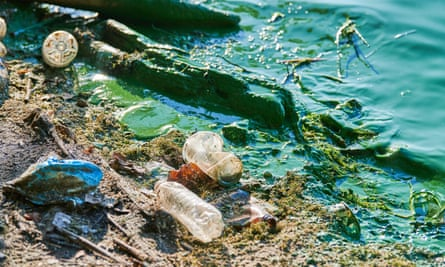 River water contaminated with sewage and non-biodegradable waste.
