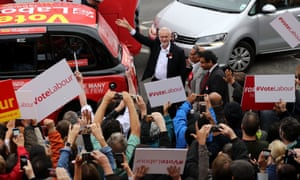 Jeremy Corbyn with Labour supporters in Harrow
