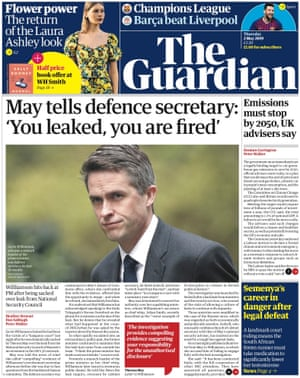 Guardian front page, 2 May 2019