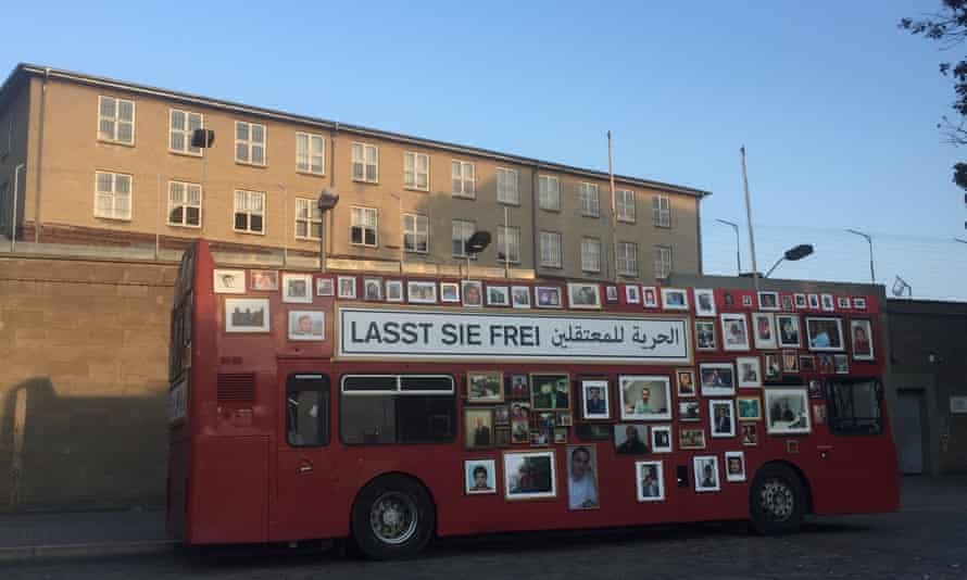The bus parked in front of former Stasi prison Hohenschönhausen, east Berlin.