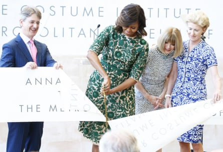 The costume department of the New York Metropolitan Museum was renamed the Anna Wintour Costume Institute in 2014, and Mrs Obama cut the ribbon.