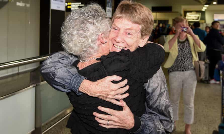 Catholic nun Patricia Fox after arriving at Melbourne airport