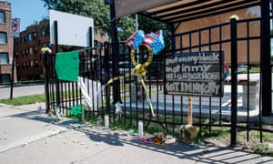 A memorial where 26-year-old Chantell Grant and 35-year-old Andrea Stoudemire were shot and killed on 28 July in the South Side of Chicago.