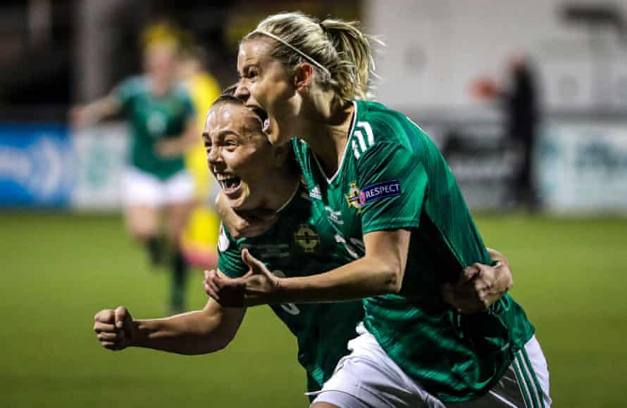Northern Ireland's Nadene Caldwell and Simone Magill celebrate defeat of Ukraine.