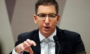 Journalist Glenn Greenwald speaks during a meeting at the Commission of Constitution and Justice in the Brazilian Federal Senate in Brasilia, Brazil, 11 July 2019.