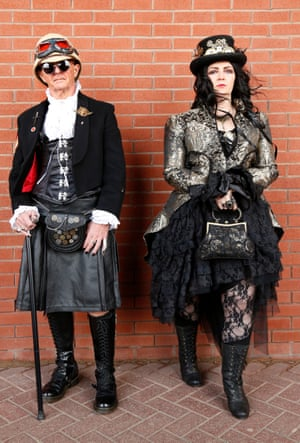 Dave and Jo Silverwood from Rotherham, South Yorkshire, who describe their costumes as an eclectic mix of Victorian, gothic and steampunk. Jo works as a community liaison manager in a school and Dave is an engineering sales manager