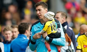 Costel Pantilimon during Watford's lap of honour at the end of the last game of the 2015-16 Premier League season.