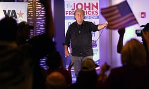 """Former Trump advisor Steve Bannon gestures during a speech during an election rally in Richmond, Va., Wednesday, 13 Oct. Conservative radio host John Fredericks, a former Trump campaign chairman in Virginia, organized the """"Take Back Virginia Rally"""" in support of Republican gubernatorial challenger Glenn Youngkin."""