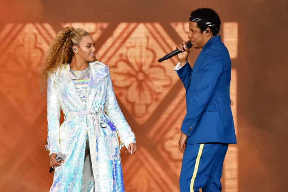 Beyoncé and Jay-Z on stage in Cardiff, June 2018