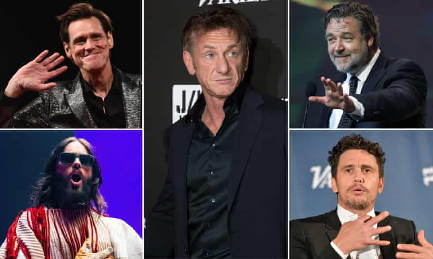 Sean Penn, centre, and, clockwise from top left, Jim Carrey, Russell Crowe, James Franco and Jared Leto.