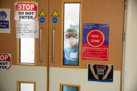 The entrance to the ICU at University Hospital Coventry, April 2020.