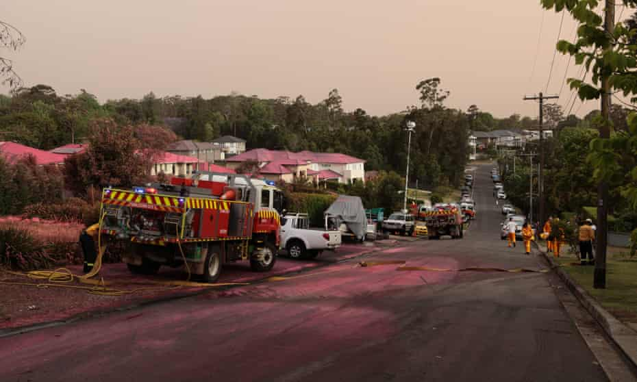 Houses covered in chemical fire retardant