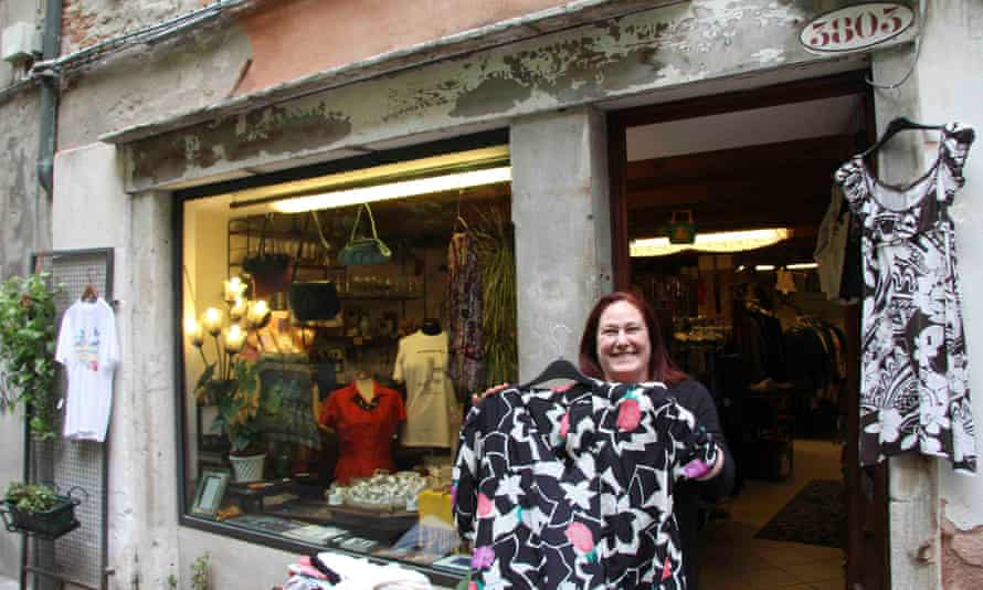 Alessandra de Rossi, standing outside her seconhand clothes shop in Venice, Italy.