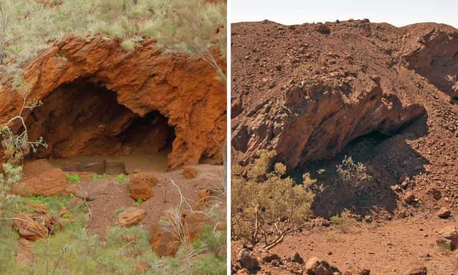 Before and after composite showing part of the Juukan Gorge site that was destroyed by Rio Tinto in May 2020.