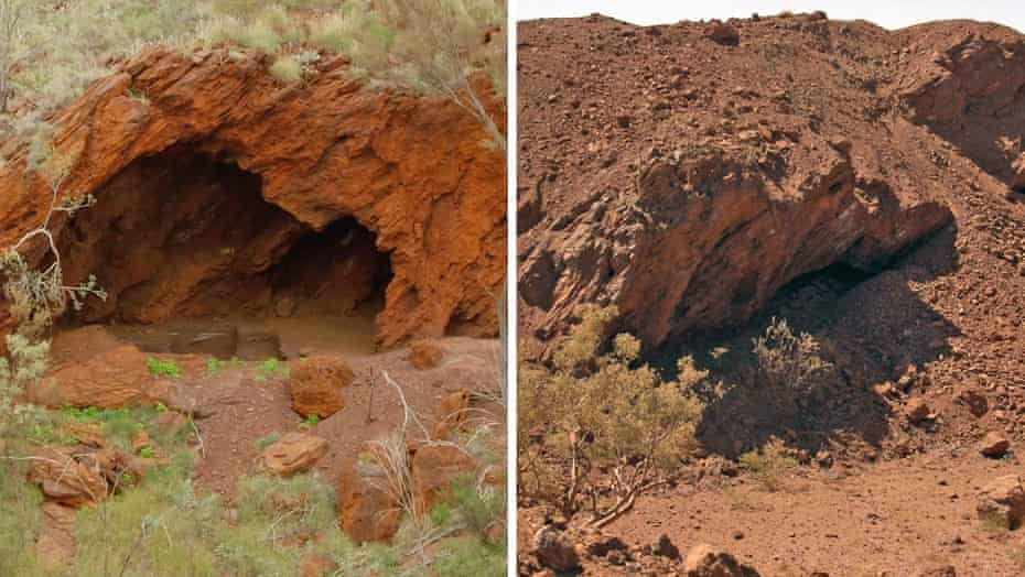 These before and after photographs show part of the Juukan Gorge rock shelters that were blasted by Rio Tinto in May 2020.