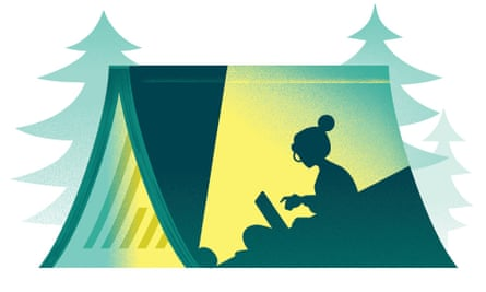 Illustration of woman typing on to laptop in lit tent