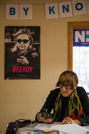 Rosa DeLauro, a Democratic representative of Connecticut, calls voters from Hillary Clinton's regional campaign office in Salem, New Hampshire.