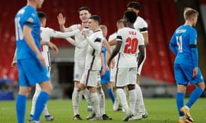 England's Phil Foden celebrates scoring their fourth goal.