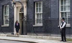 Priti Patel leaves No 10 Downing Street after being appointed the new international development secretary.