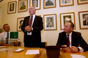 Outgoing leader Warren Truss addresses the members of the Nationals party room this evening in Parliament House Canberra this evening, Thursday 11th February 2016.