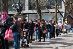 Shoppers queue outside Primark in Norwich on 12 April, 2021.
