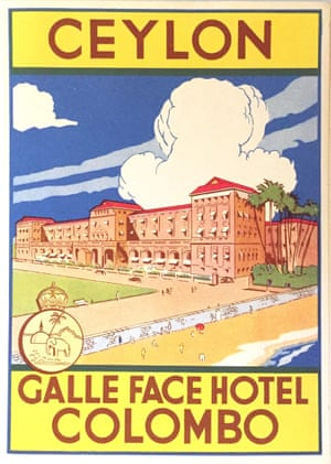 Galle Face Hotel in Colombo: A legendary luxury establishment in Sri Lanka (formerly Ceylon) that began life as a Dutch villa. It opened in 1864 at the height of the British colonial empire and has a beautiful seaside location. This lithograph label was issued in the 1940s.