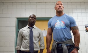 Kevin Hart and Dwayne Johnson in a scene from the 2016 action comedy Central Intelligence.